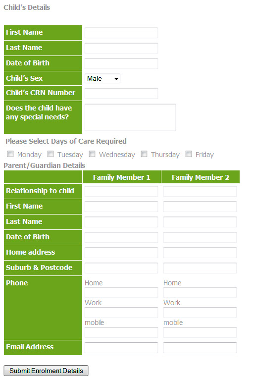 Sample Website For Childcare  Enrollment Form